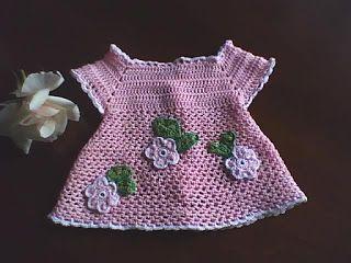 Manualidades y algo de psicología: Vestido a crochet para bebe de 0 - 2 meses