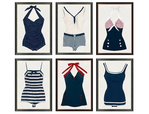 51977eb6402e6 vintage bathing suit wall art - Google Search | Nautical | Vintage ...