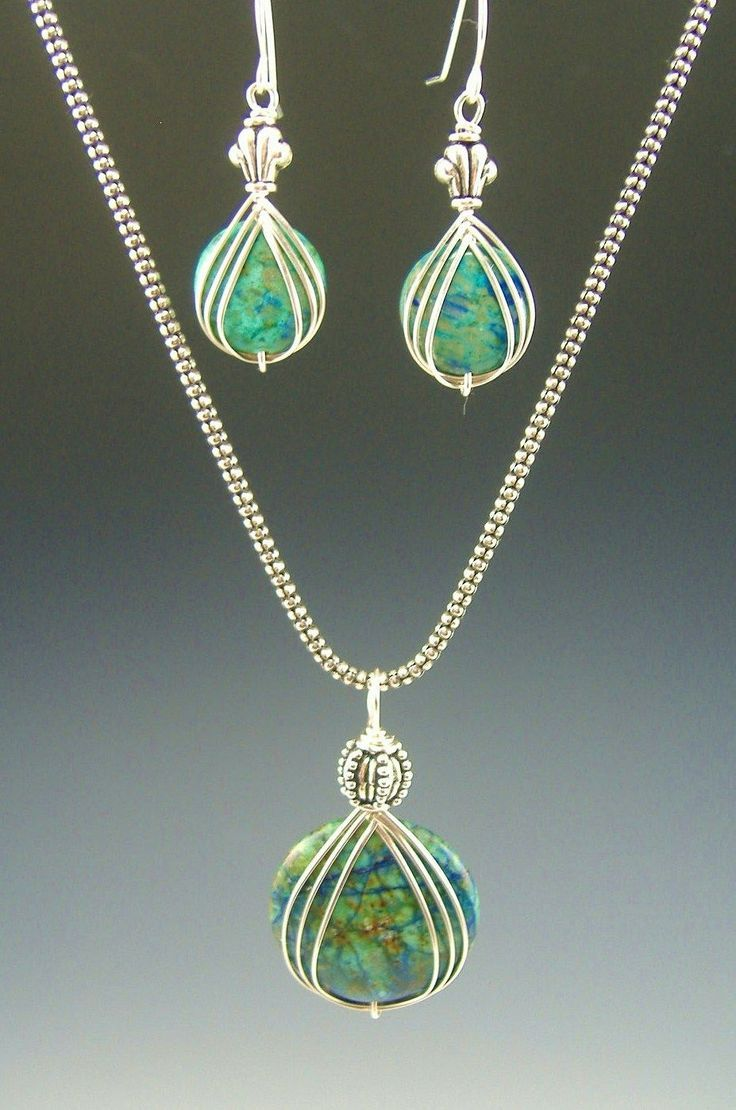 clean, sleek wire wrapped green beads with classic bail   loopy ...