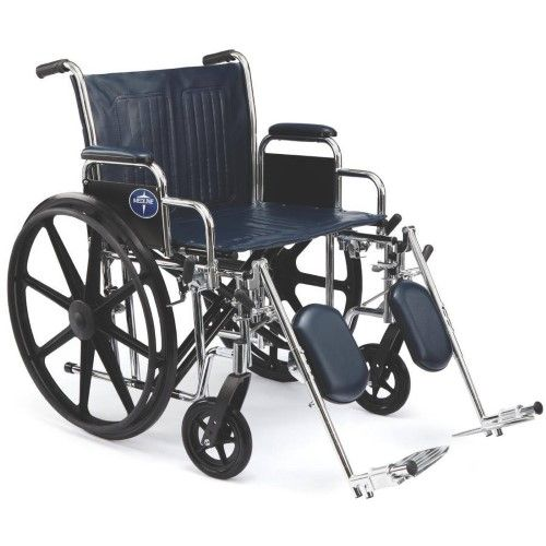 Medline Excel Extra-Wide Wheelchair, 24' Wide Seat, Black