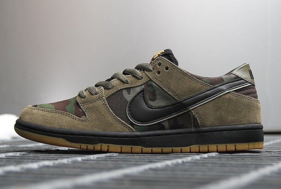 Nike SB Exclusive Dunk Low Camo Olive Black Gum Supreme 854866-209