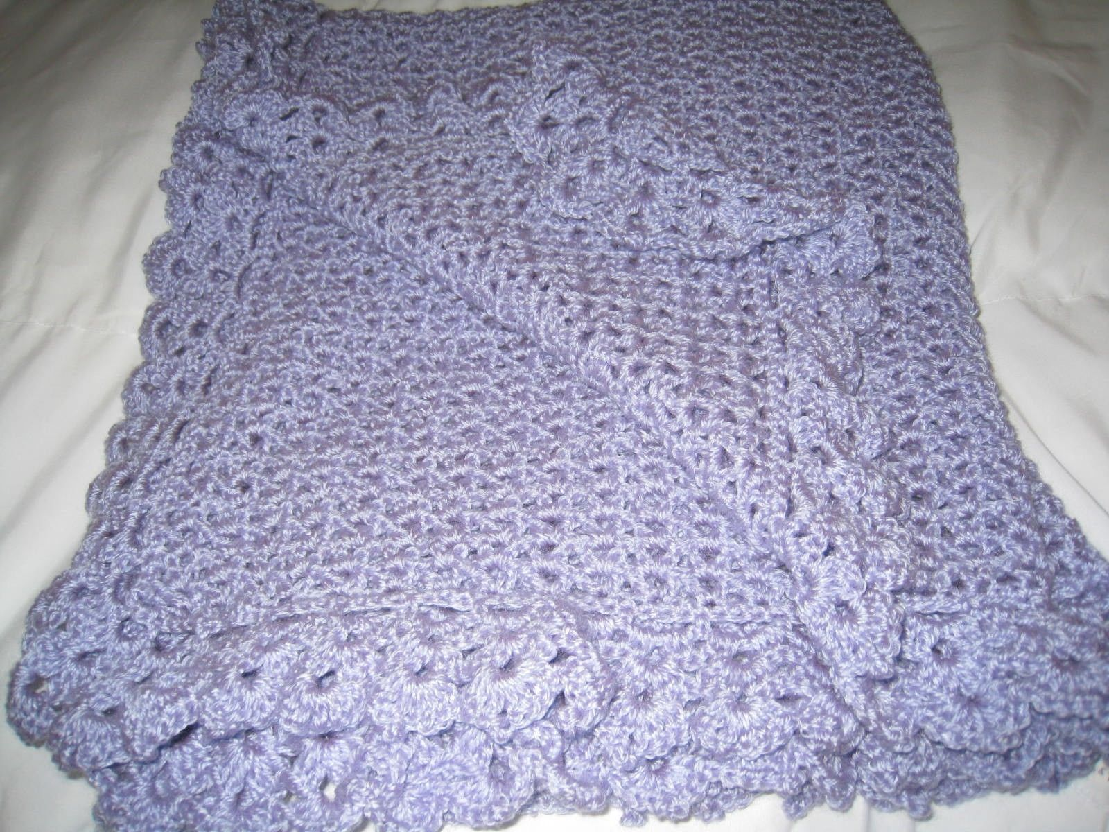Lilac Lace Border Afghan~hand crocheted~Blanket Shawl Baby Throw Shower Gift picclick.com