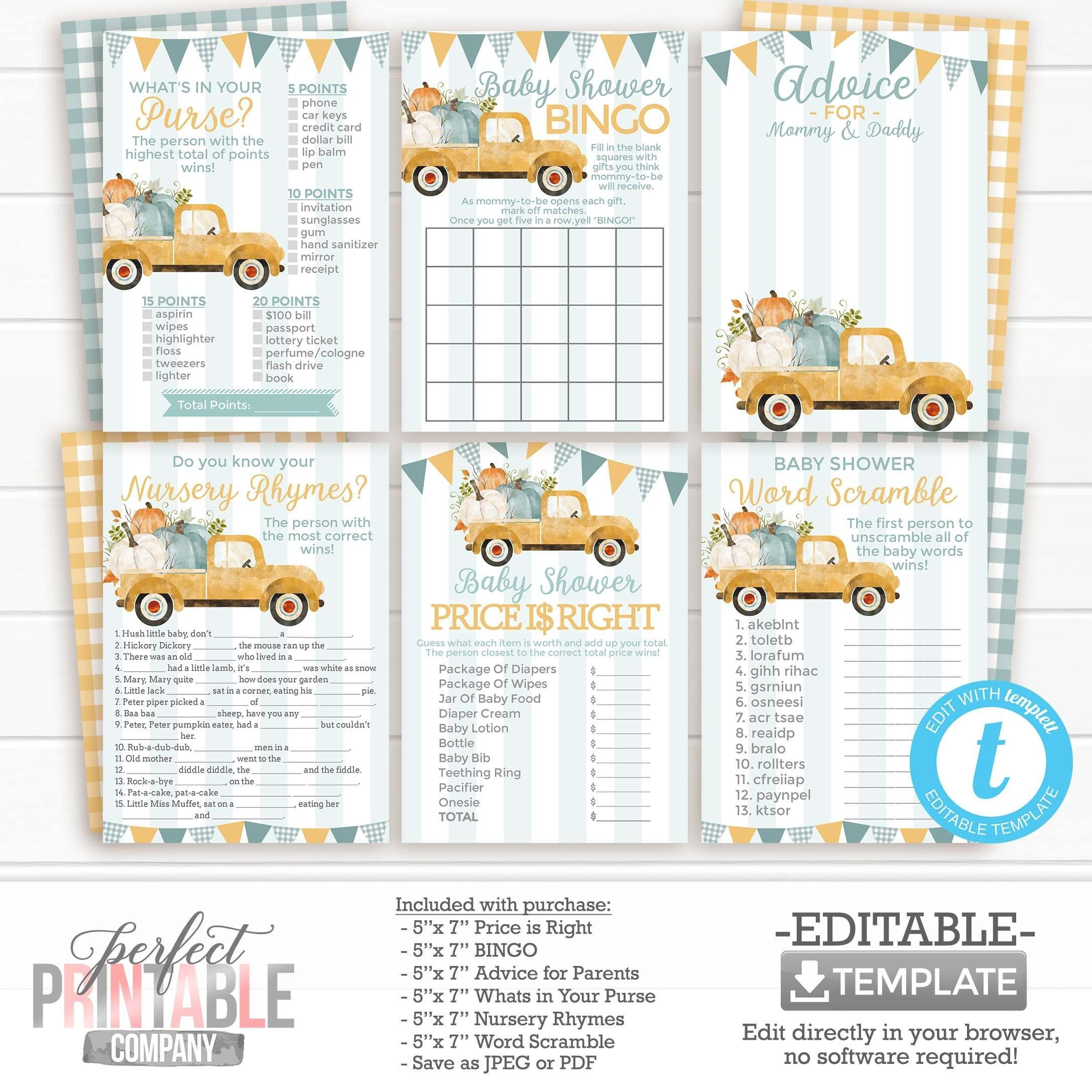 Fall Truck Baby Shower Games Package Bundle Bingo Word Etsy Truck Baby Shower Baby Shower Games Baby Shower
