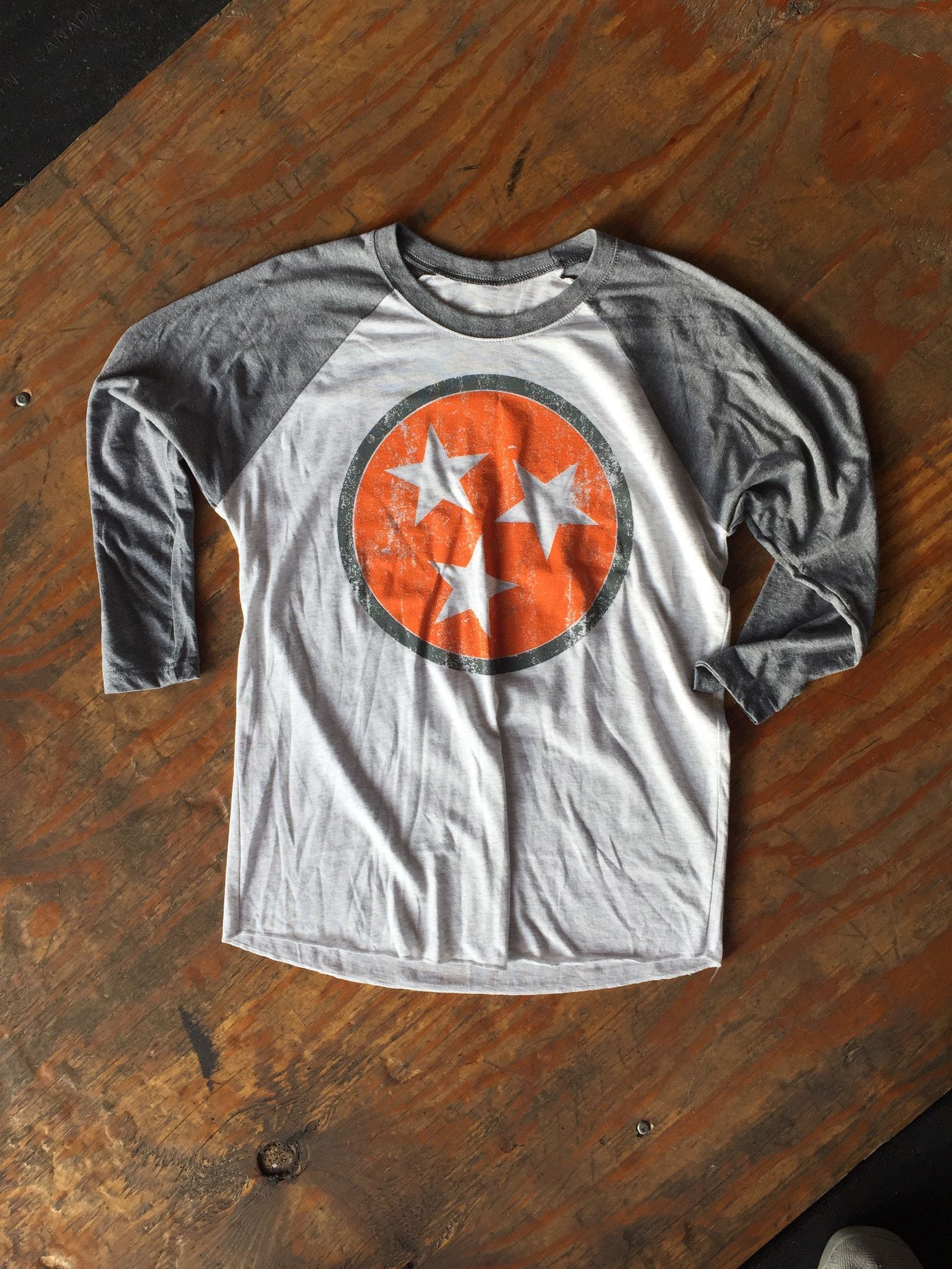 Pro tag 100 cotton 3 4 sleeve raglan baseball shirt in white black - Orange And Gray Tennessee Tri Star Baseball Tee