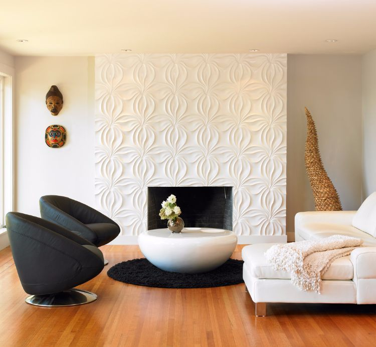 Weiße 3D-Tapete für den Kamin Haus Ideen Pinterest