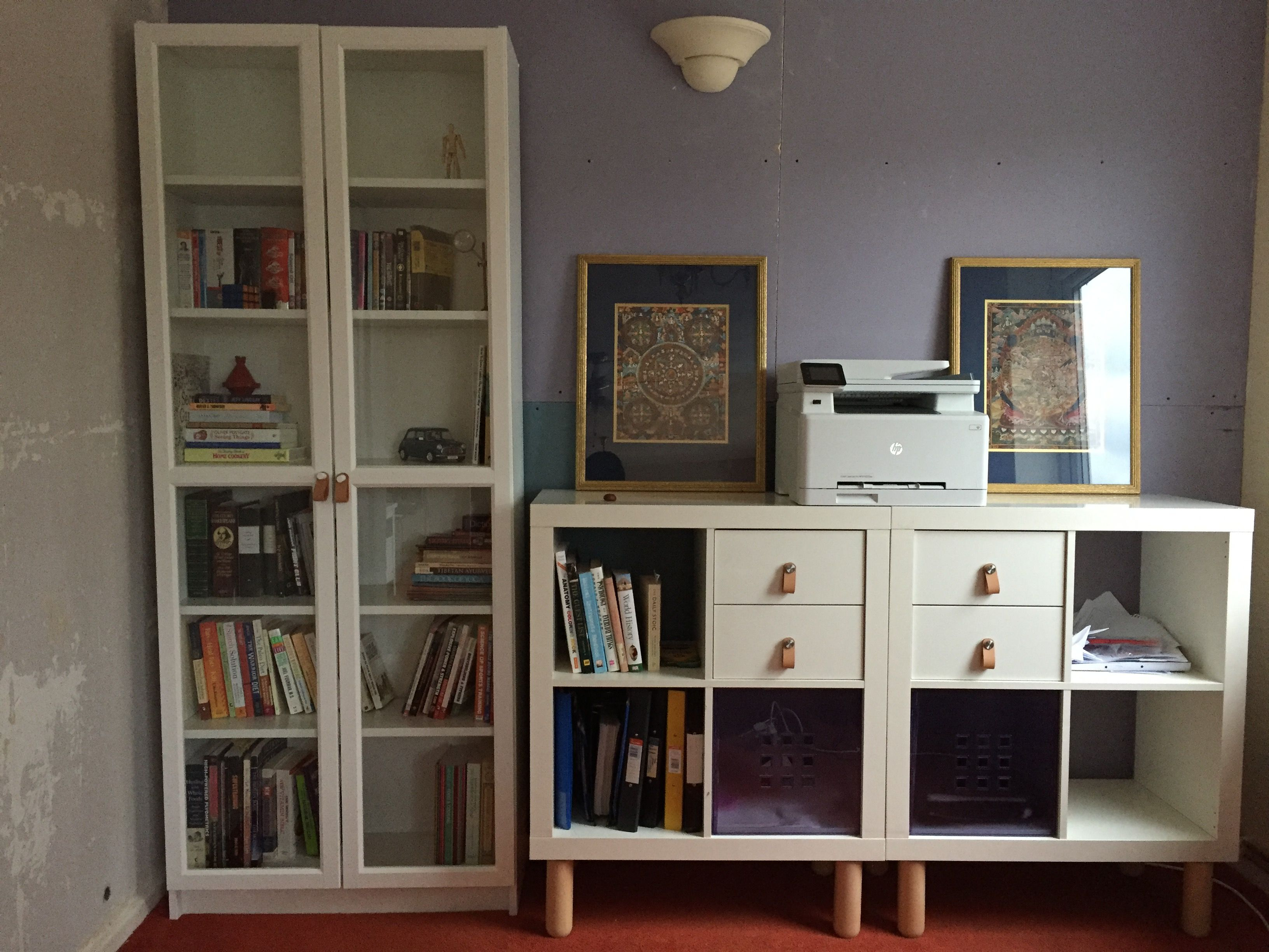 Credenza Billy Ikea : Billy bookcase and kallax cubes with added legs as a credenza from