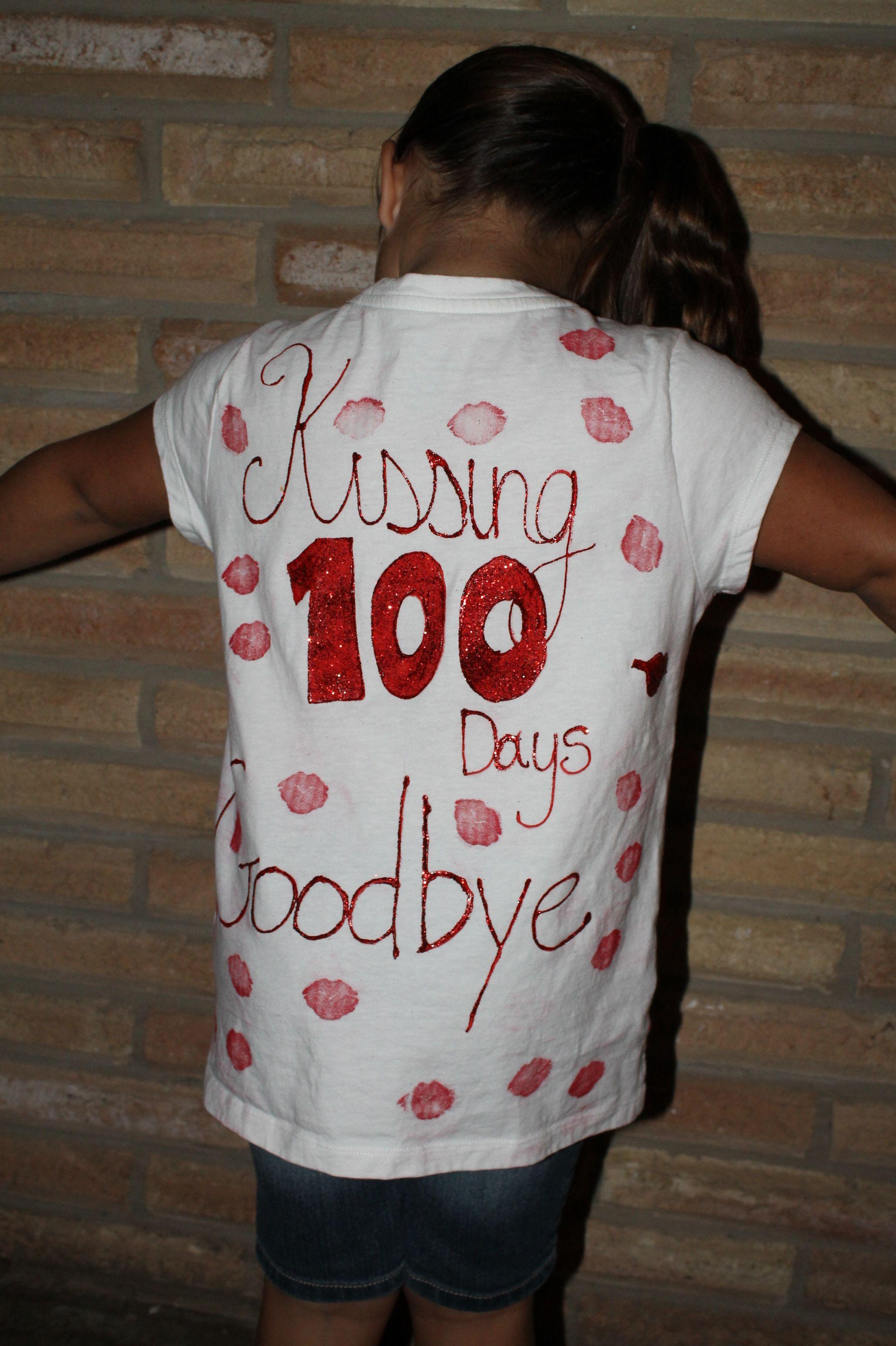 100 Day Of School Shirt Kissing 100 Days Goodbye 100 Days Of