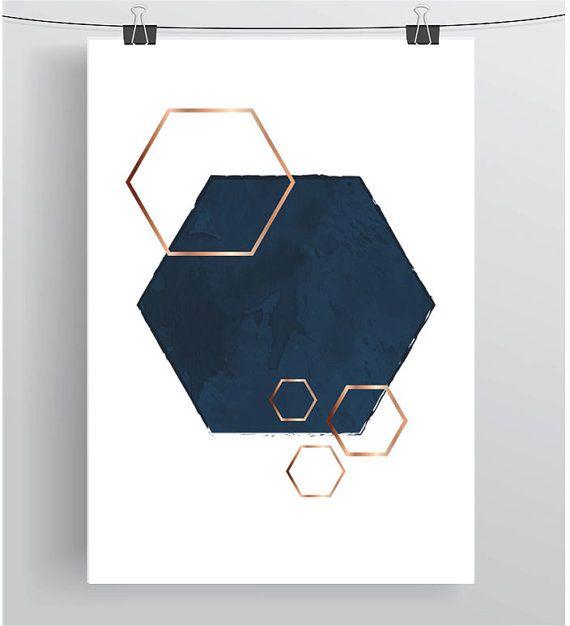 Navy And Copper Art, Hexagon Print, Geometric Poster, Navy