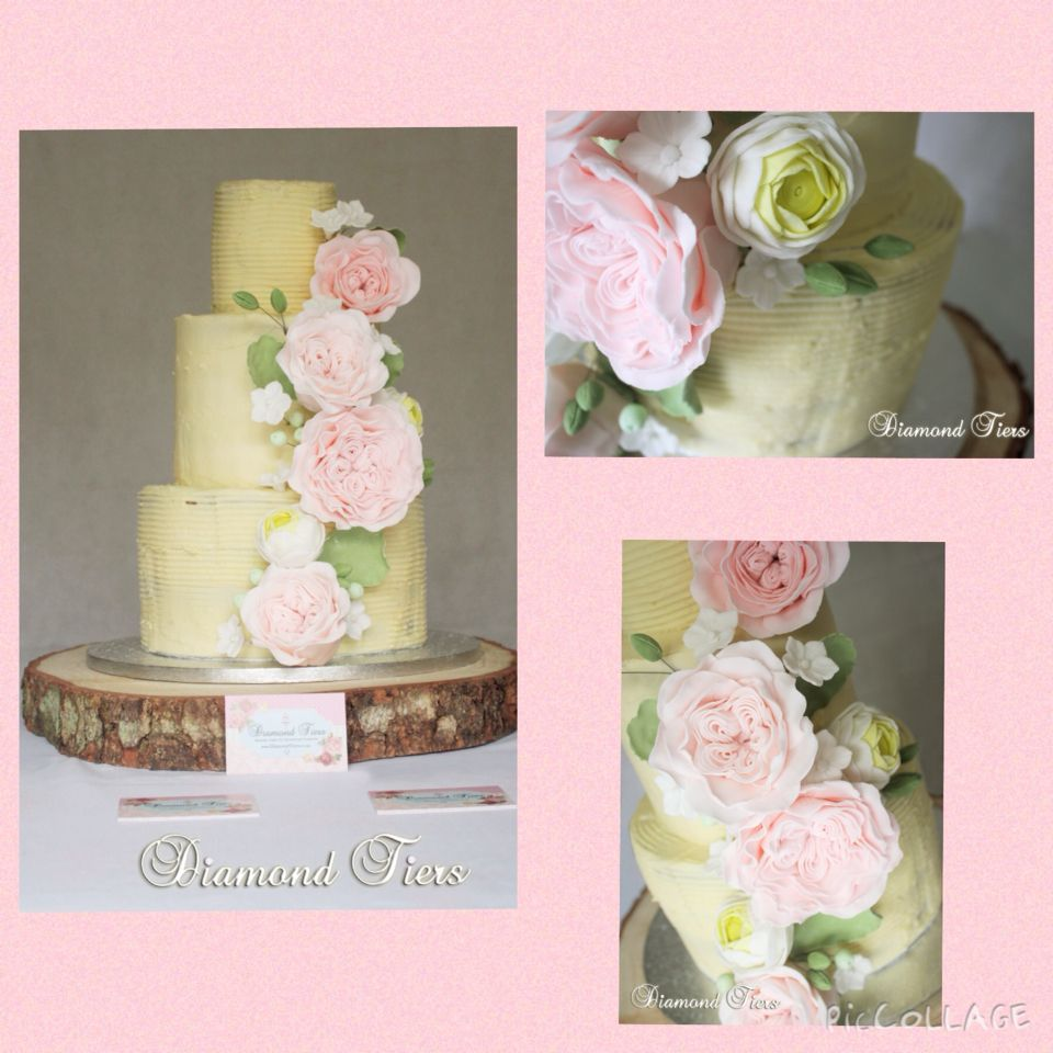 """A """"Semi-Naked"""" cake, covered only in buttercream. Fondant free cakes are so on trend right now, and such a joy to create too! #diamondtiers"""