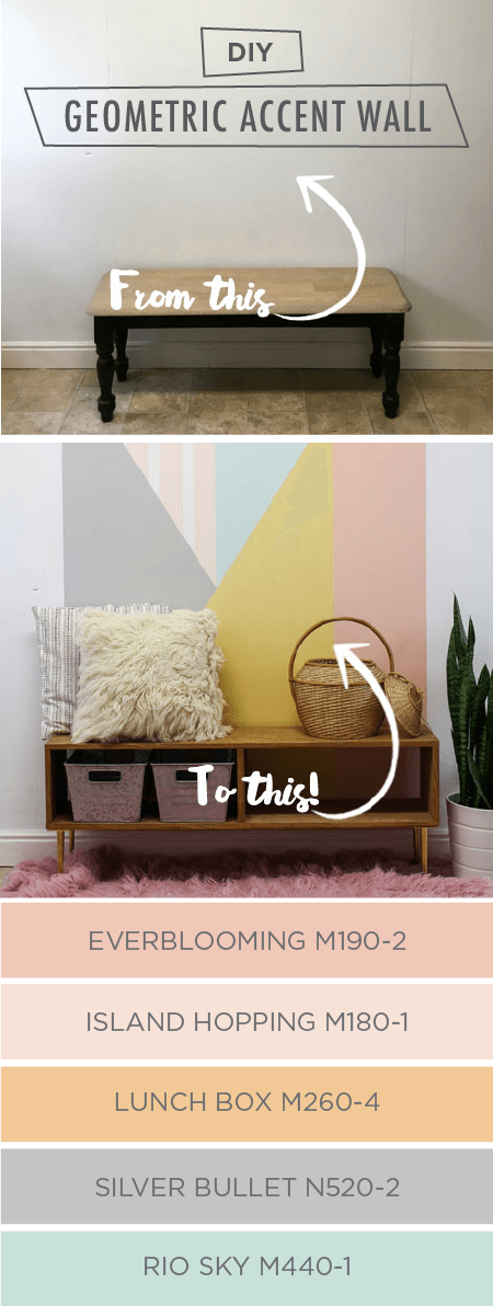 Create a bold geometric accent wall in your home with this easy painting tutorial from Shonee, of Hawthorne and Main. Shonee used a pastel color palette to create a subtle, understated mural against her white walls. Complete this chic look by adding modern furniture and a stylish area rug to complement your new design.
