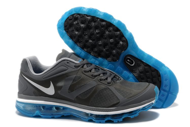 Mens Nike Air Max 2012 Dark Grey Black Blue Glow Shoes