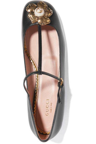 a777fe502b9f Gucci - Embellished Leather Ballet Flats - Black - IT