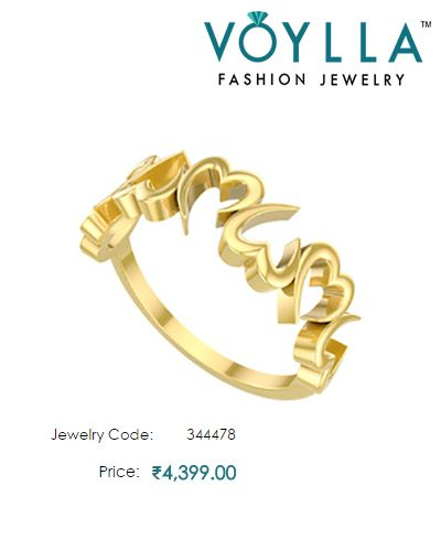 14K Yellow Gold Heart Motif Ring For Women Price Rs 4 399