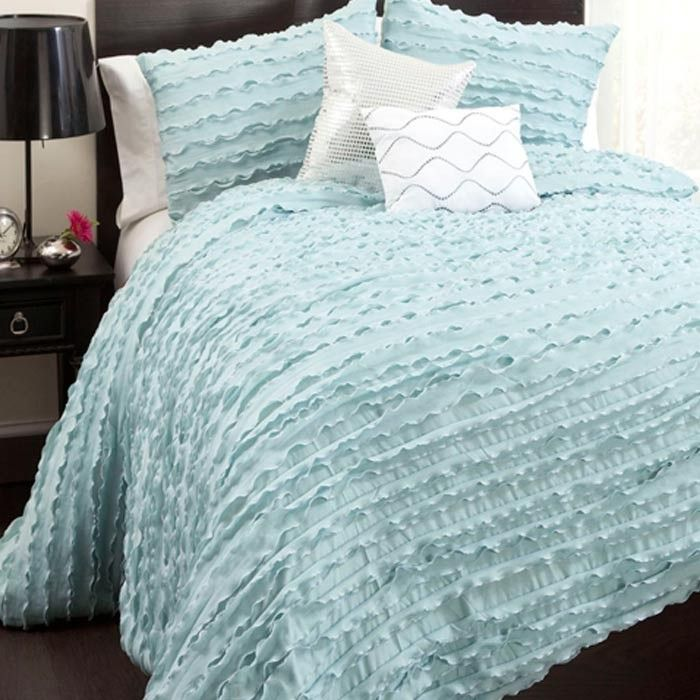 Lovely Light Blue Bed Set Nice Texture Comforter Sets Blue