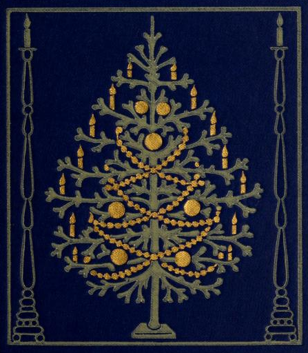A poem and a bit of vintage Christmas tree cover art a give for Christmas from me to you. A Christmas tree decorated in gold and candles on a field of blue.