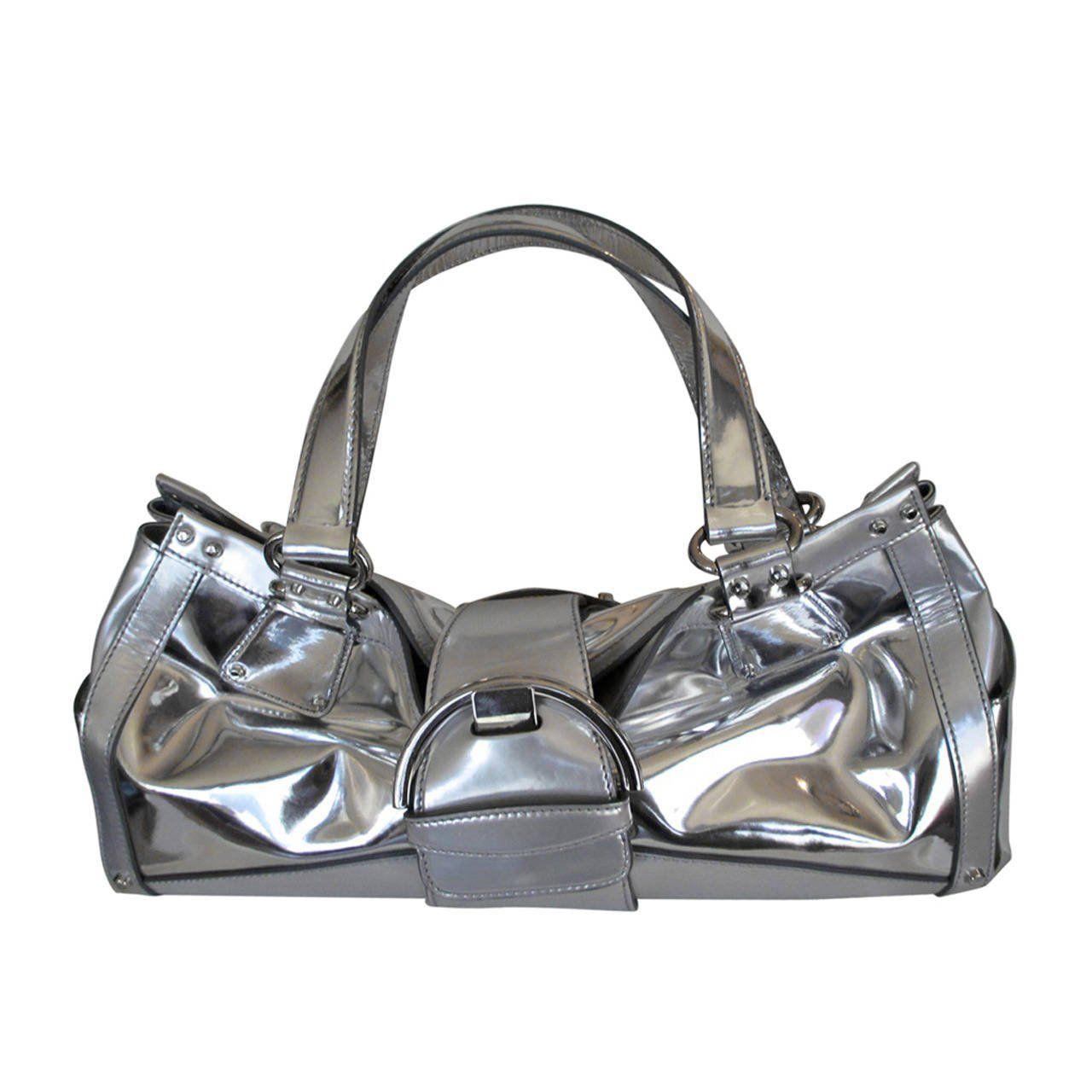 Sergio Rossi silver Leather handbag