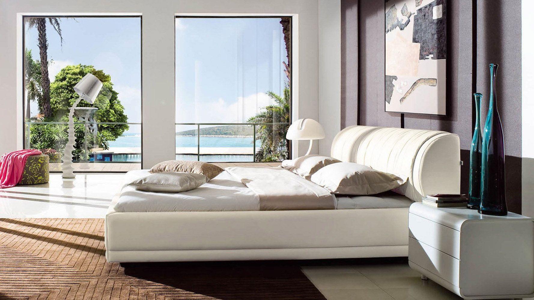 Morocco White Leather Platform Bed with Storage Zuri