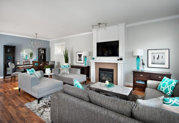 gray and turquoise living room decorating ideas. modern living room with grey furniture and turquoise accents