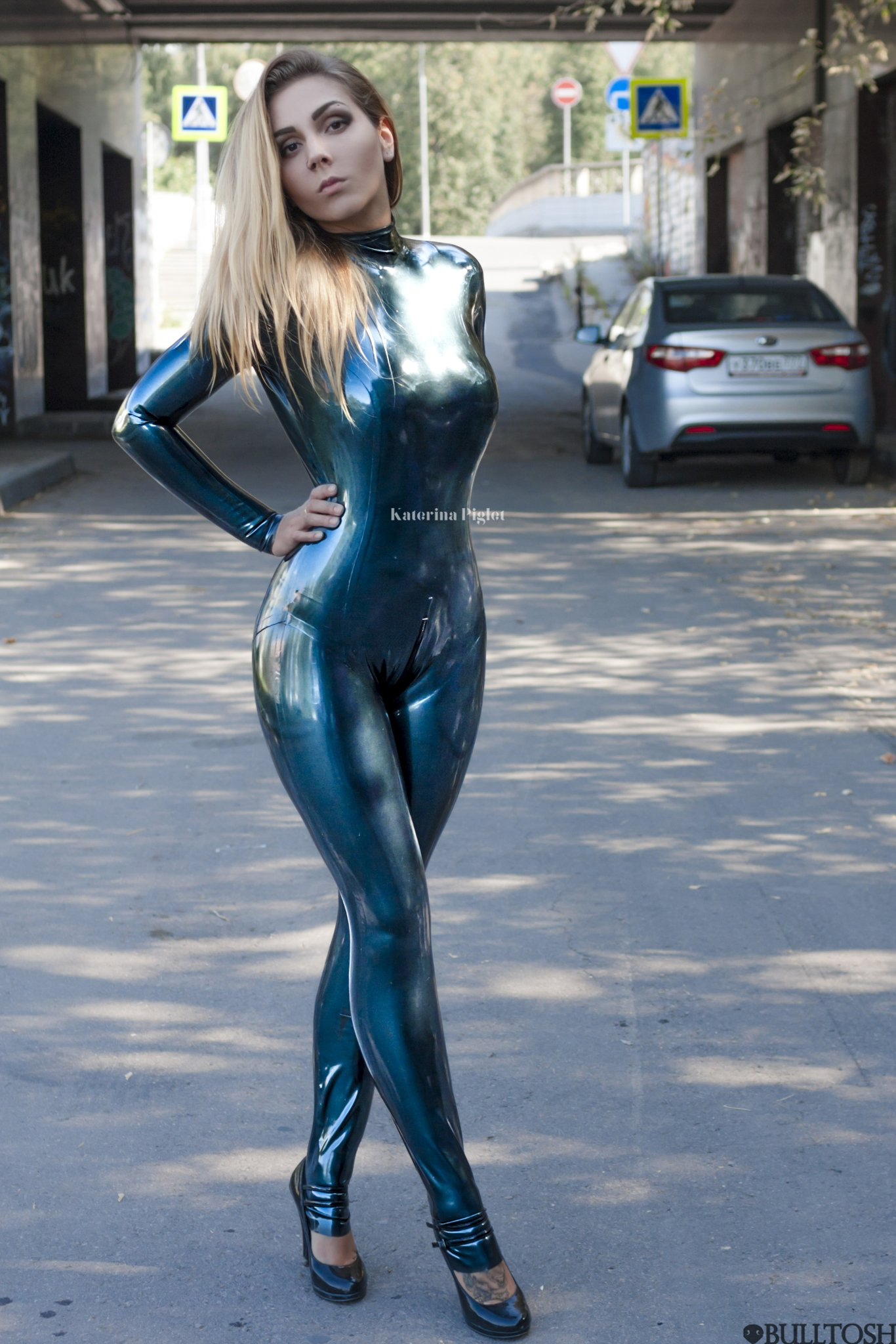 Girl in tight latex