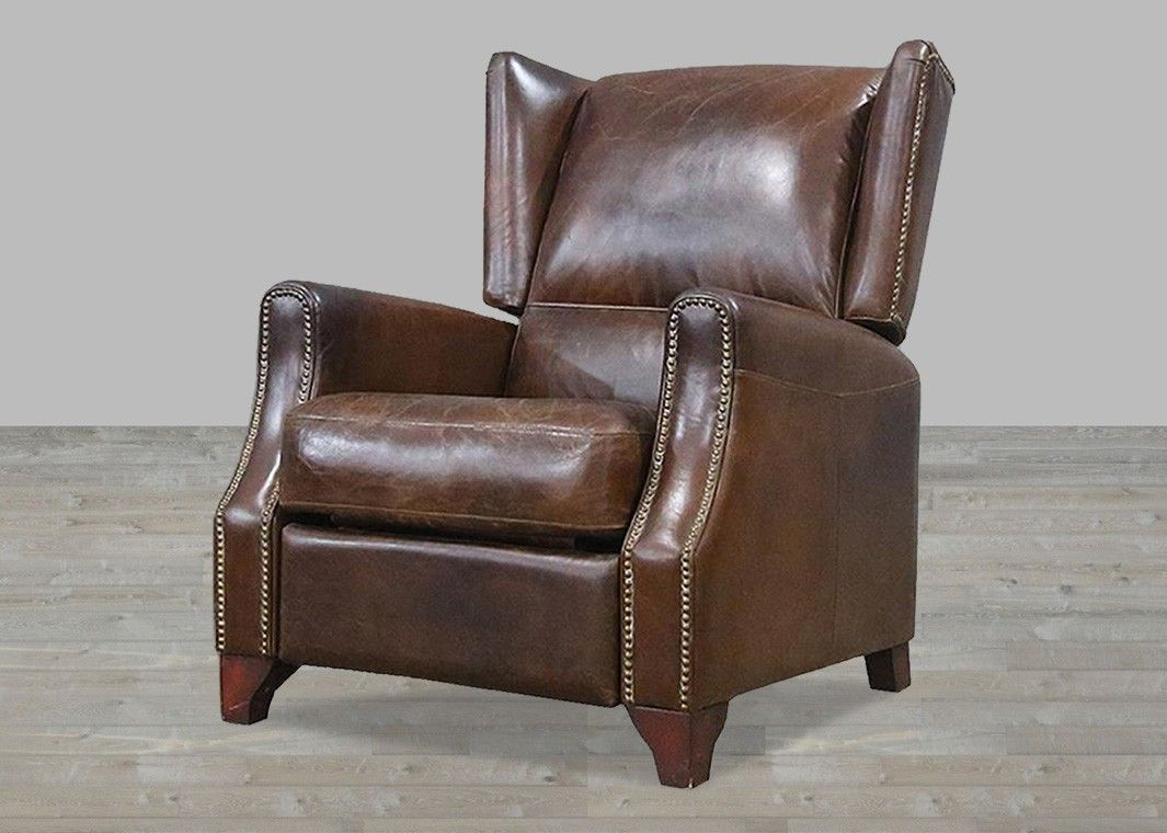Brown Vintage Leather Recliner With Nail Heads