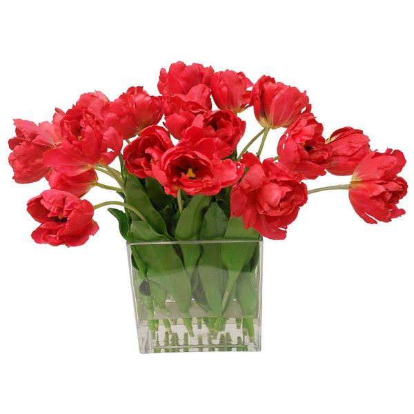 Fantasy Tulips In Square Vase Red 795 Bam Liked On Polyvore