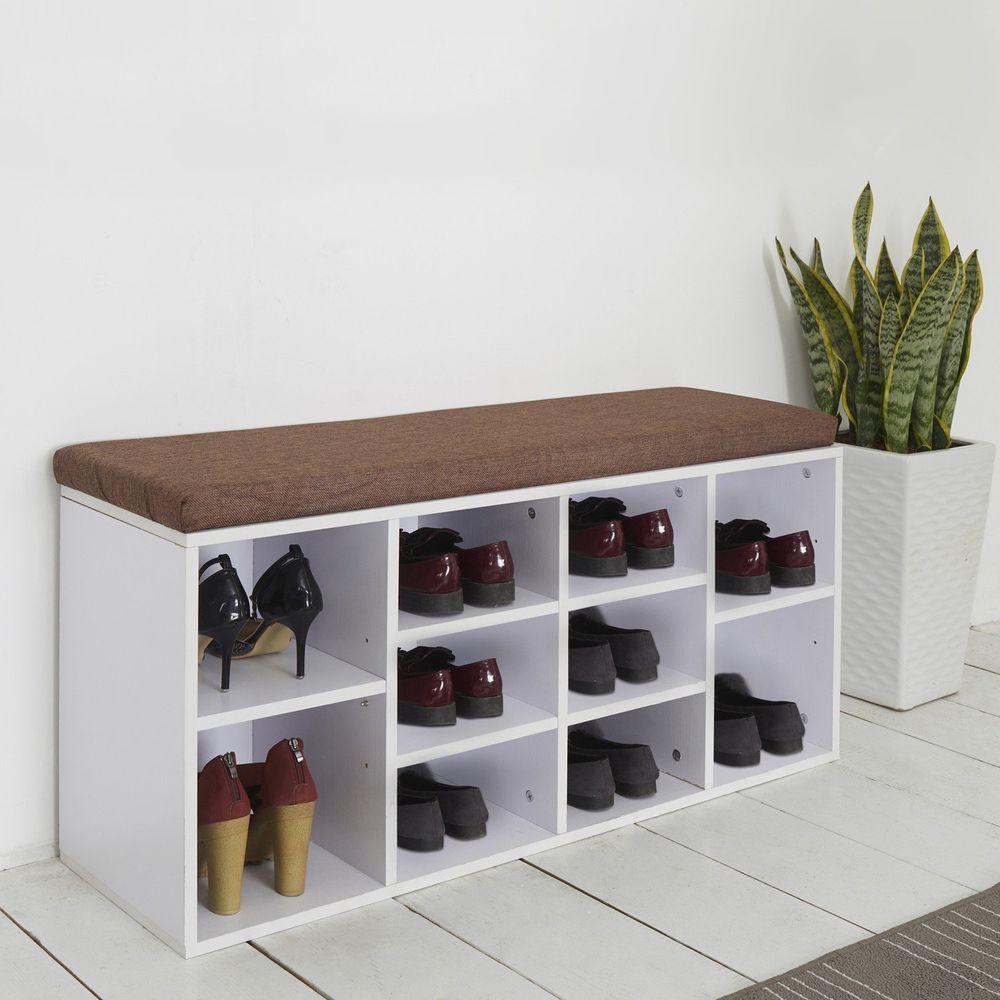 Hallway Wooden Shoe Bench Storage Seat Cushion Shoe Shelf