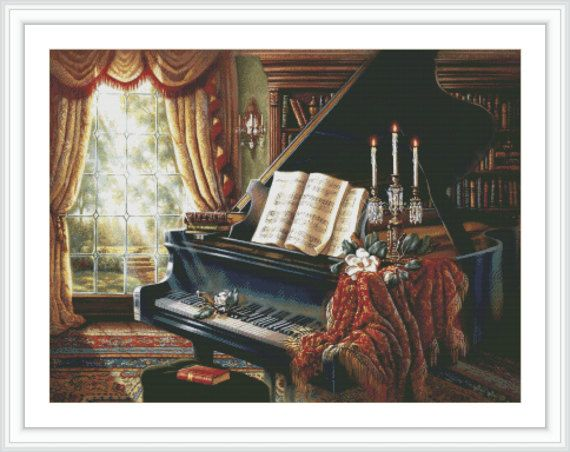 Piano Counted Cross Stitch Pattern  Large Cross by GCStitchDIY