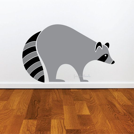 Raccoon decal woodland animal wall sticker children kids baby vinyl rub on decorations