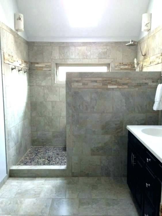 No Door Shower Astounding Bathroom Ideas With Sofa Small Walk In Rustic Walk In Shower Rustic Til Bathroom Remodel Shower Showers Without Doors Bathroom Layout