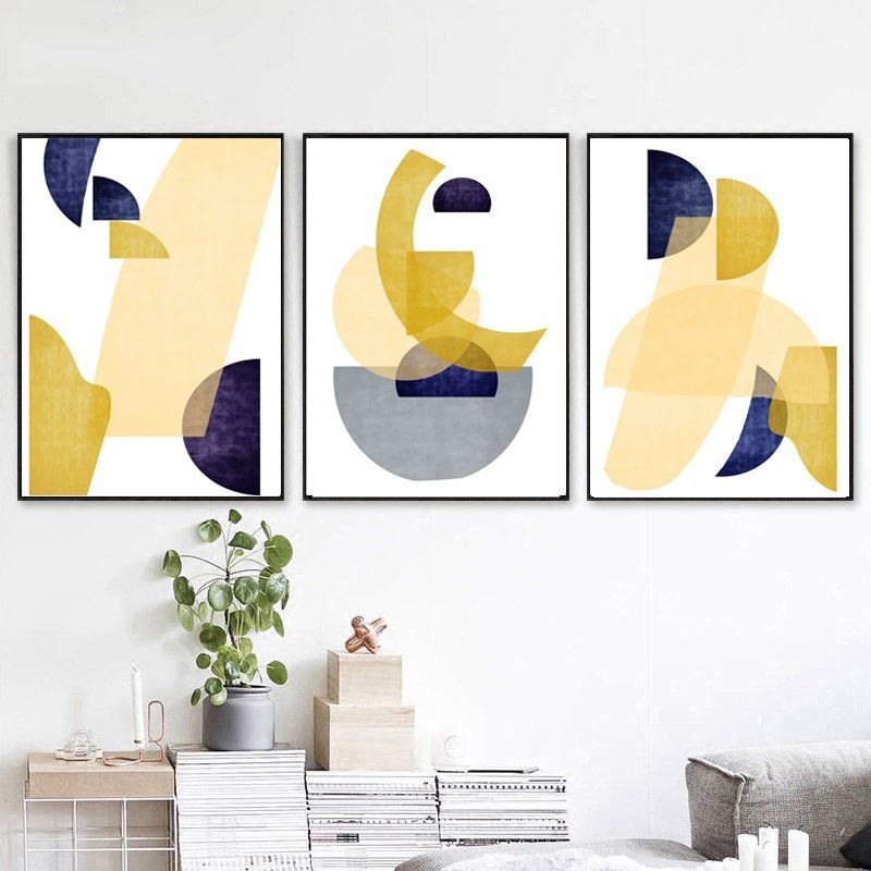 Mid Century Modern Geometric Circles Abstract Poster Print Wall Art Decor