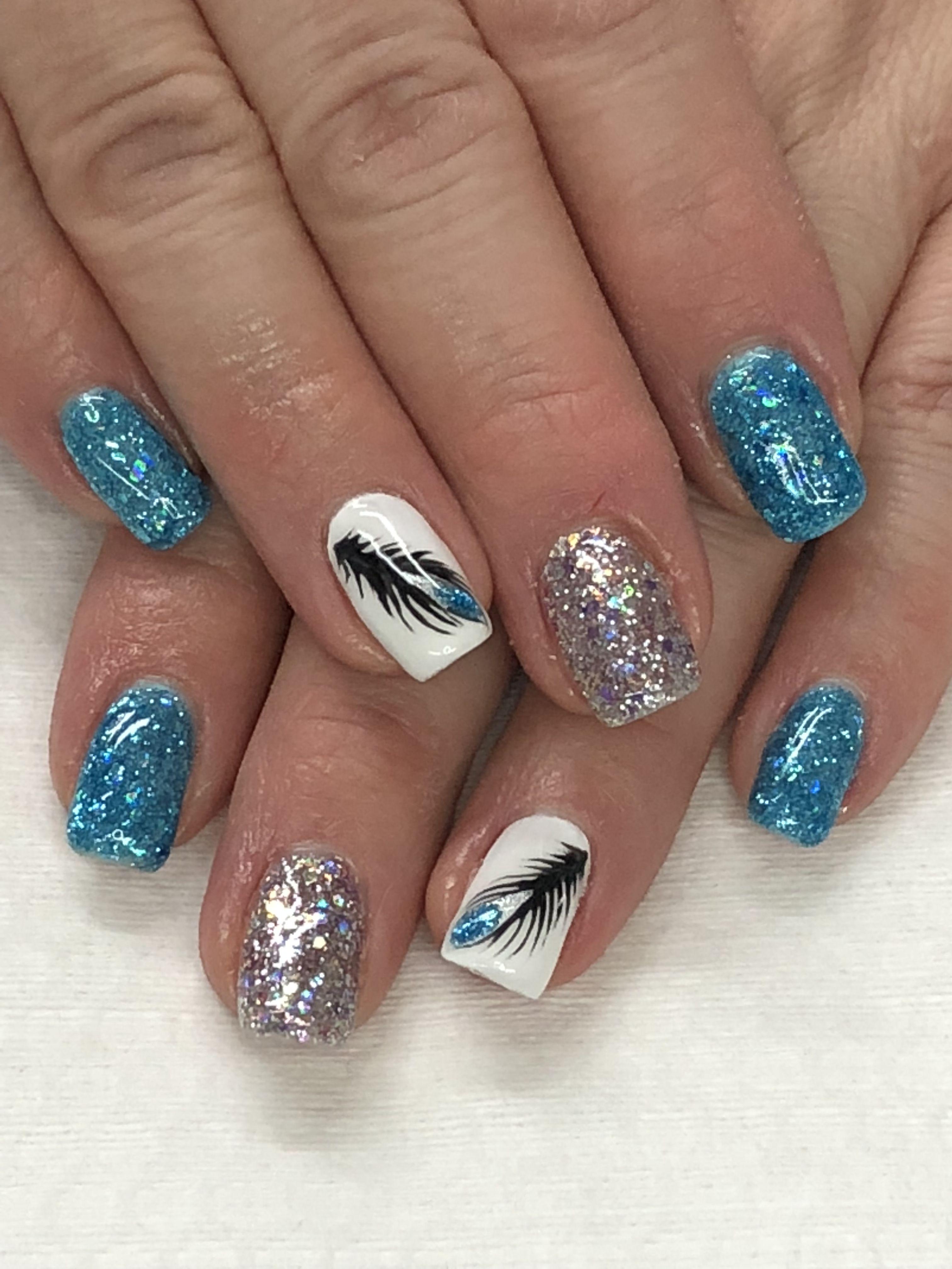 Peacock Feather Light Elegance Glacier Blue Elvis Pelvis Just White Buttercream Hand Painted Gel Nails Feather Nails Nails Gel Nail Designs