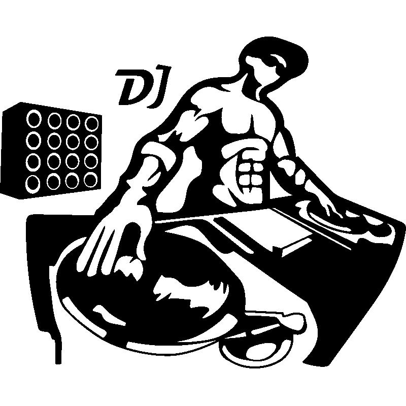 Wall Sticker Silhouette Muscled Dj Hip Hop Artwork Dj Art Dj Logo