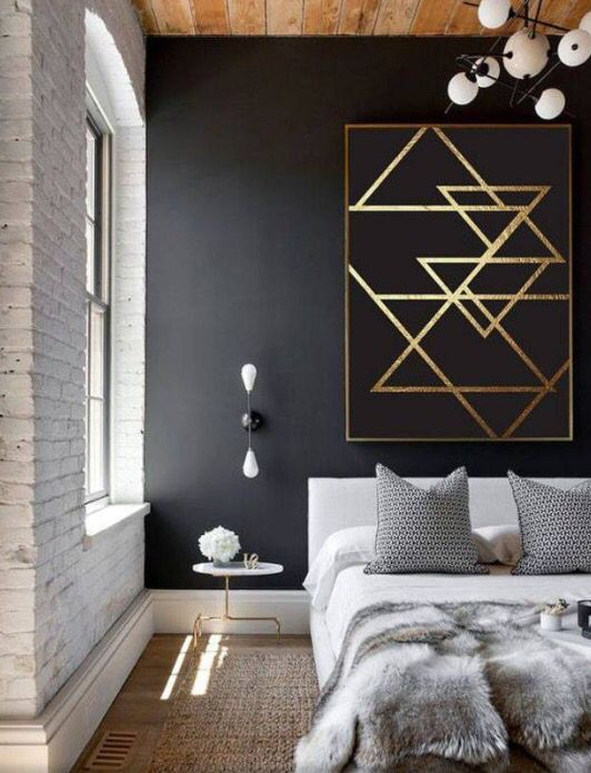 Black Accent Wall With Graphic Gold Detail Modern Living Room Minimalism Interior Minimal Interior Design Home Decor
