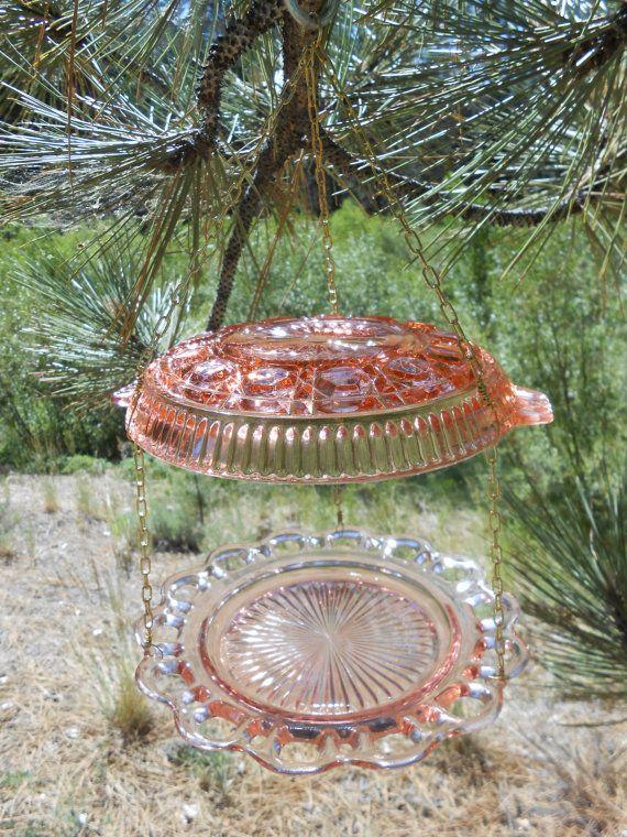 Pink Vintage Pressed Glass Birdfeeder & Sun Catcher by CheekyBirdy ...