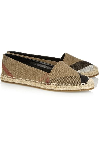 Checked Canvas Espadrilles - Beige Burberry duIyzRo