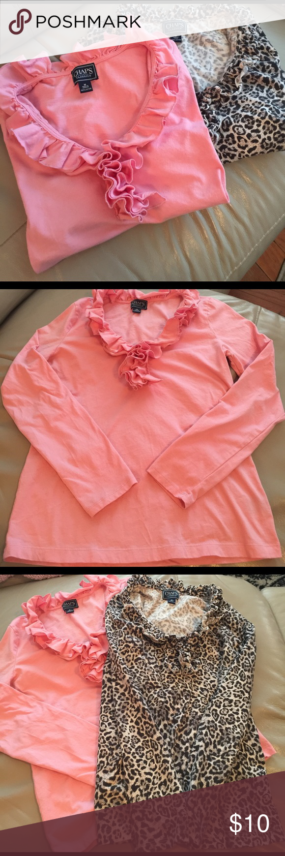 2/10.00... CHAPS ruffle long sleeve Pink one was never worn... long sleeve ... mediums... can separate for 8.00 a piece Chaps Tops Tees - Long Sleeve