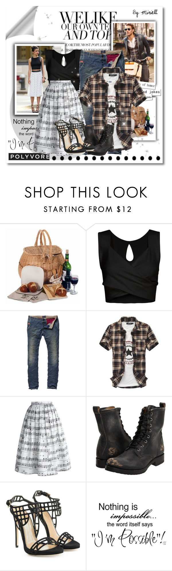 """Couple #17"" by sasane ❤ liked on Polyvore featuring Bambeco, Chicwish, Frye and Dsquared2"
