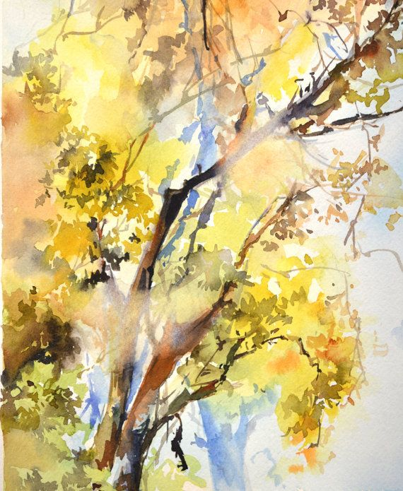 Light On A Trees Watercolor Painting Original Watercolor Painting