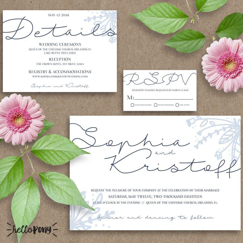 Beautiful wedding kit invitation blue and white design - Original design, printable and customizable de HelloPonyWorld en Etsy