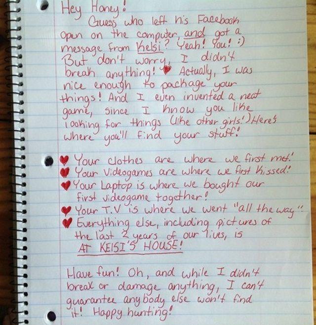 Cheating Boyfriend Finds Surprisingly Playful Breakup Letter