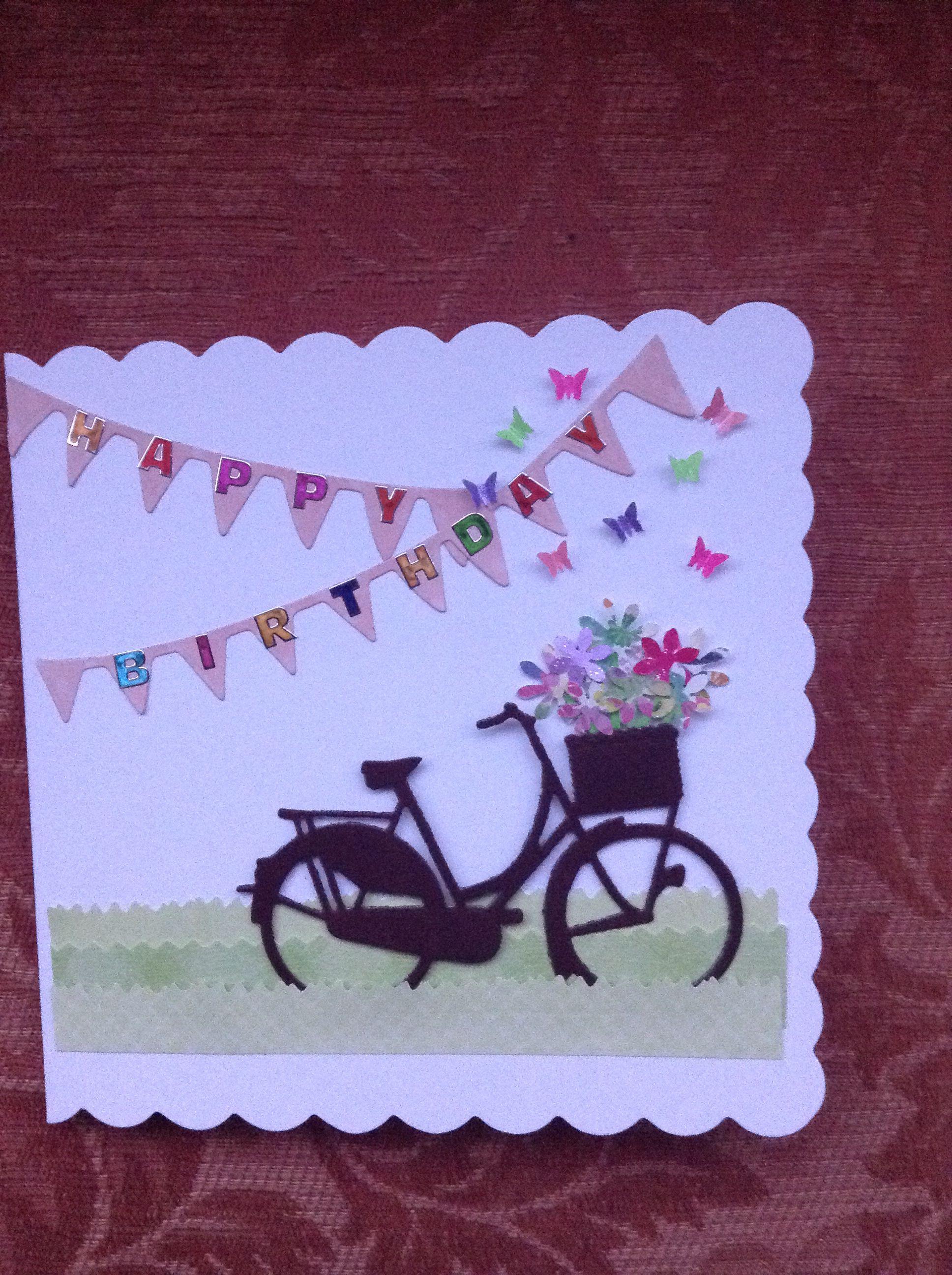 Card With Bicycle Bikecard Card Bike Bicycle Birthday Card Cool Birthday Cards Birthday Card Craft Card Craft