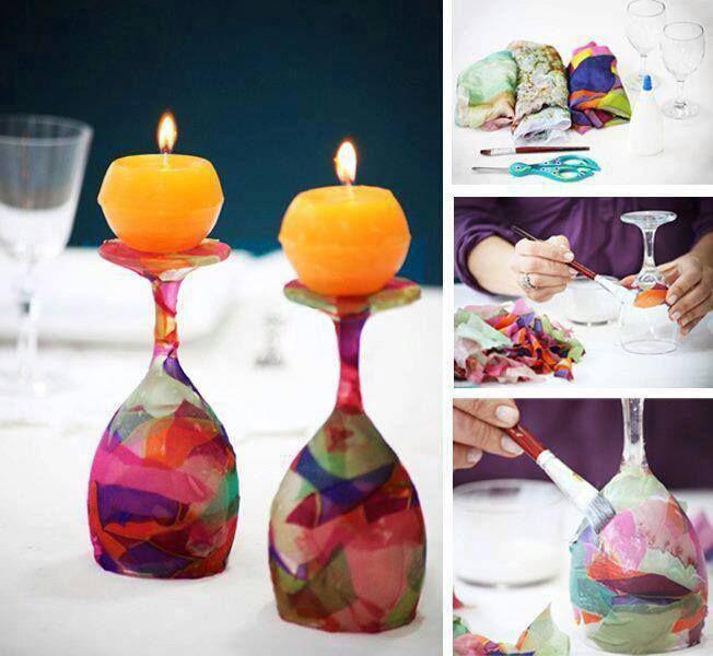 Velas en copas decoradas pintadas a mano velas for Copas decoradas a mano