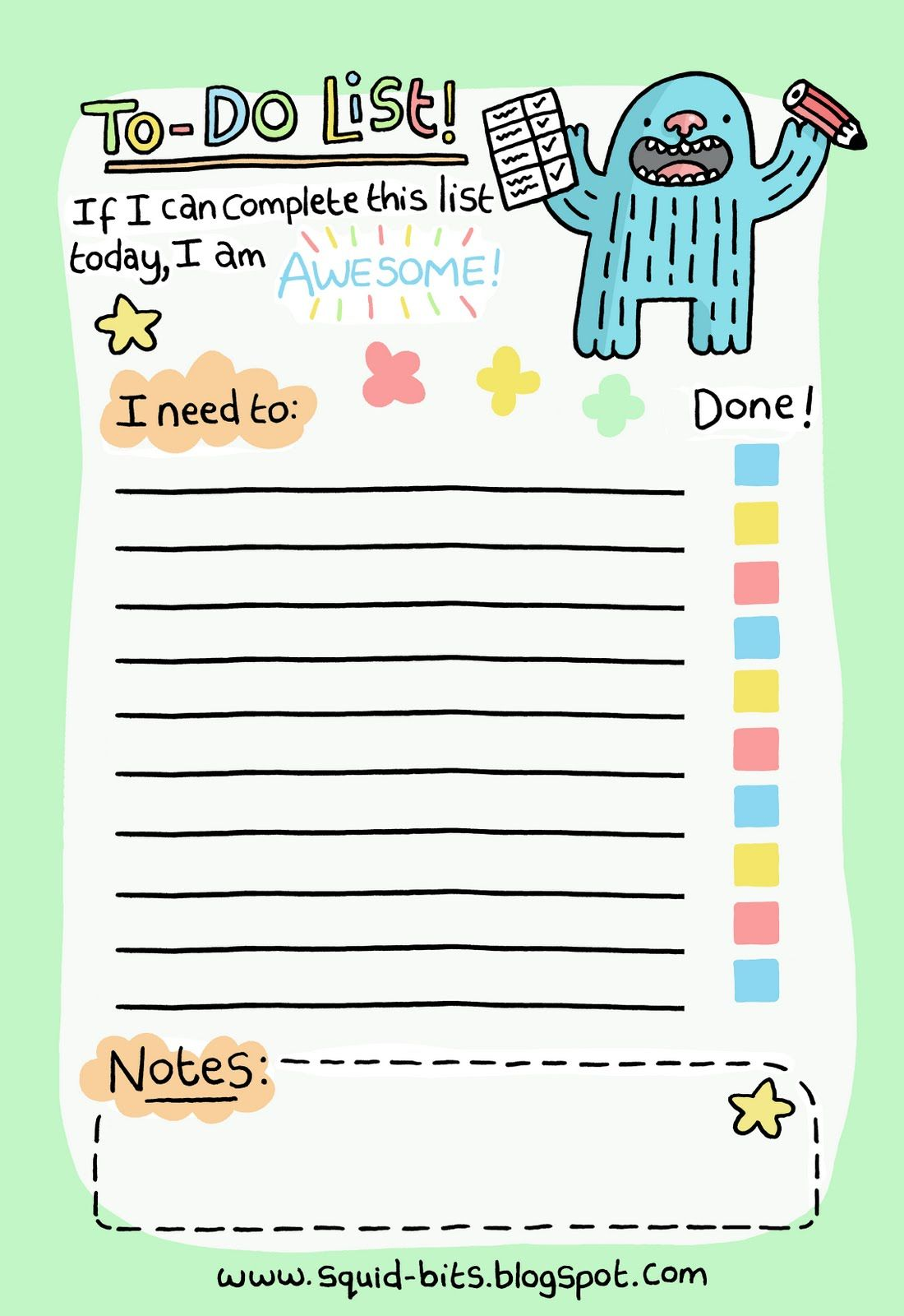 picture relating to Cute Printable to Do List named Squid Bits!: Towards-Do Checklist! Planners Towards do lists printable