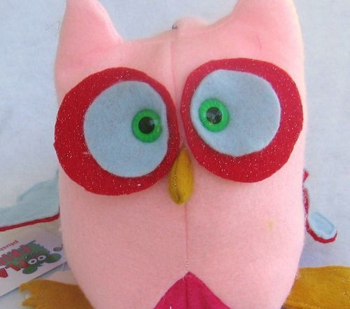 Whoo Loves You Pink Felt Stuffed Owl Animal Toy by FlakyFriends
