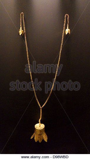 Gold pendant and chain with a lotus flower jewellery from the 2nd gold pendant and chain with a lotus flower jewellery from the 2nd century bc souttoukeny india stock image mightylinksfo