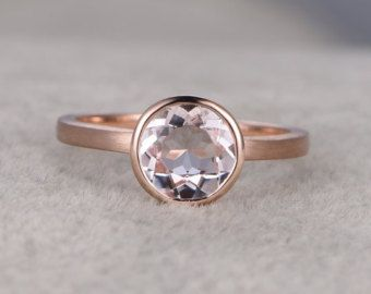 Gemstone RingDiamond Wedding Bandmorganitemoissanite by popRing
