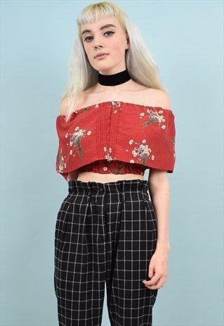 564d34695f7898 90s+Vintage+floral+Off+Shoulder+Crop+Top+ | fashion/clothes | Crop ...