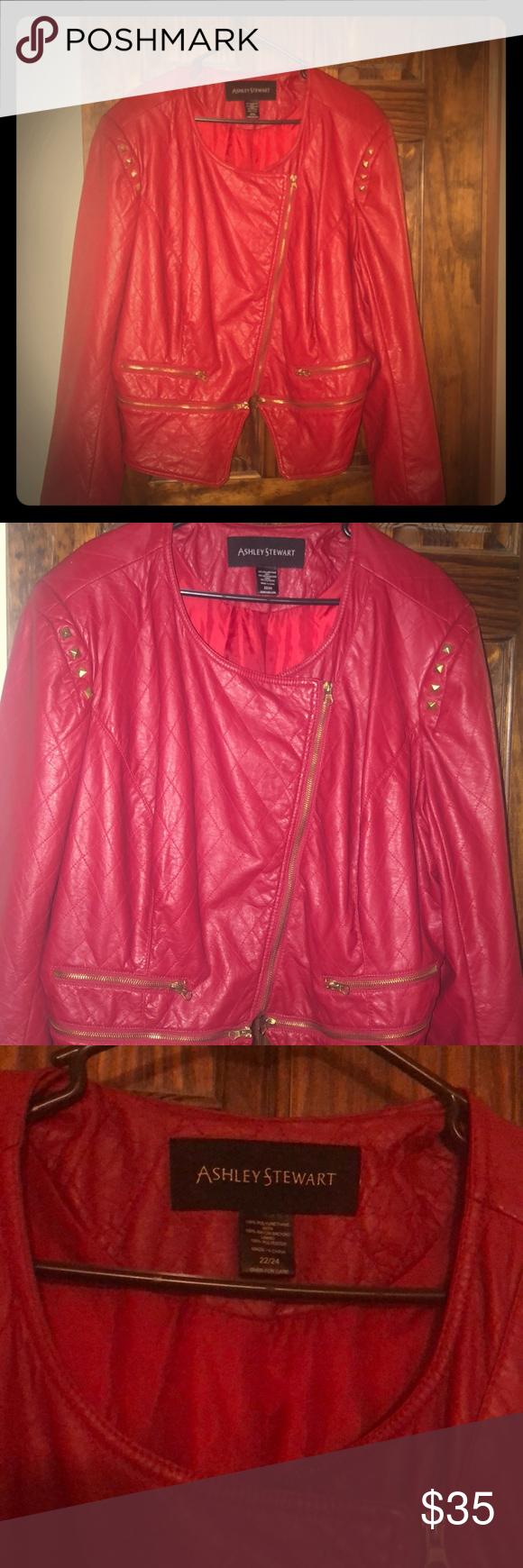 Red Ashley Stewart Jacket Jackets Faux Leather Jackets Leather Jacket [ 1740 x 580 Pixel ]