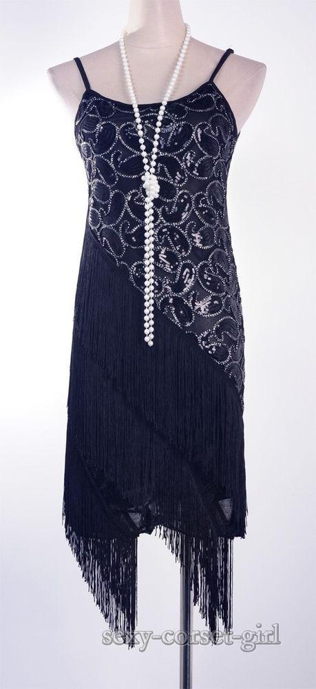 394ff9368e0 1920's Flapper Gatsby Club Sequin Tassel Black Plus Size 4XL/5XL ...