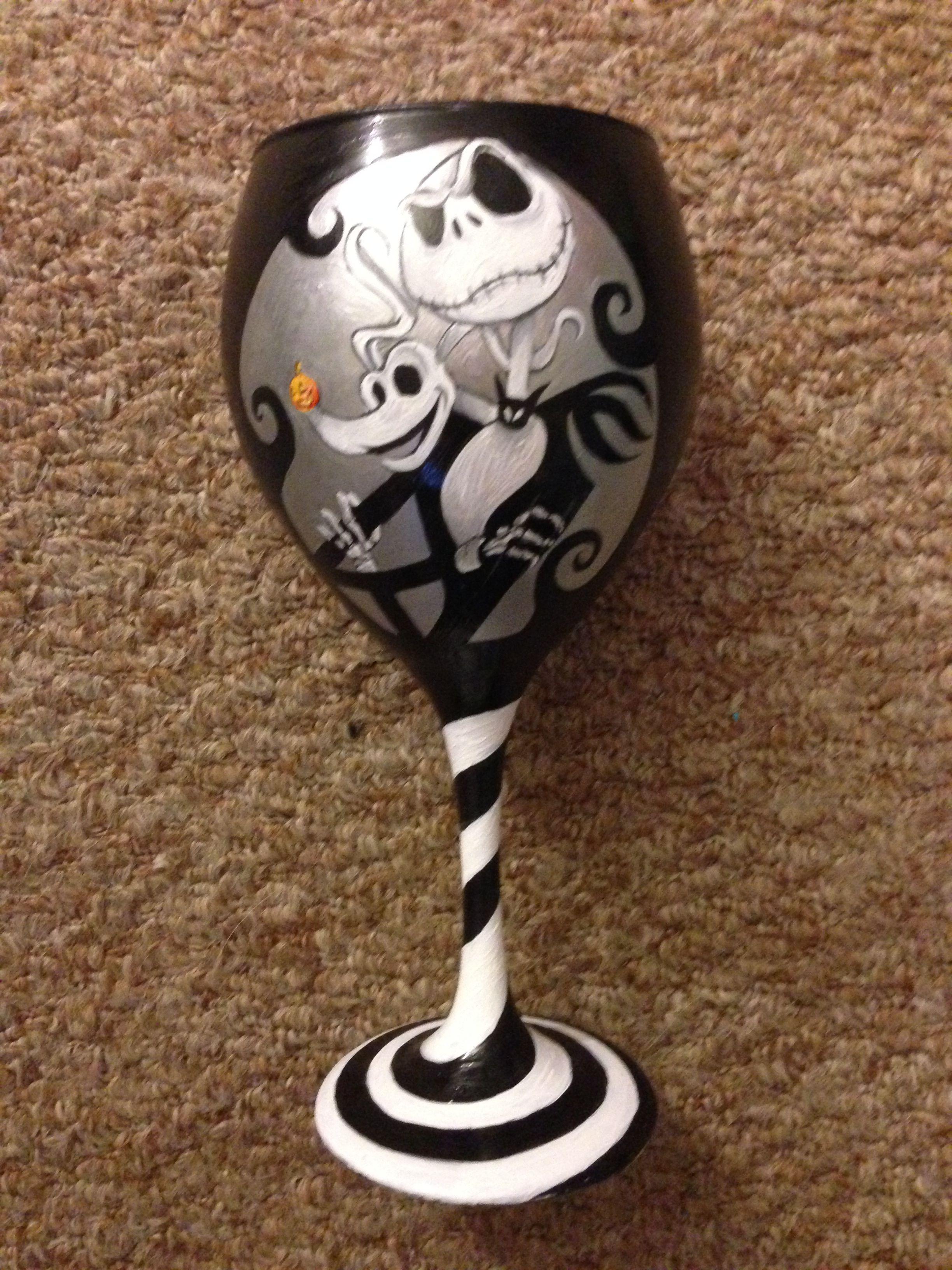 Hand painted Jack Skellington Nightmare Before Christmas glass ...